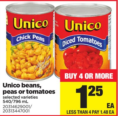 Unico Beans - Peas Or Tomatoes - 540-796 mL