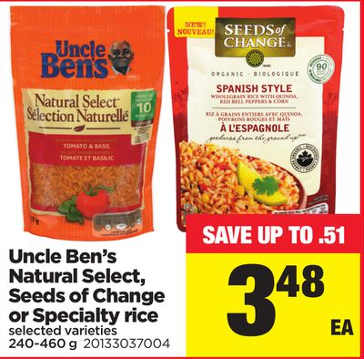 Uncle Ben's Natural Select - Seeds Of Change Or Specialty Rice - 240-460 g