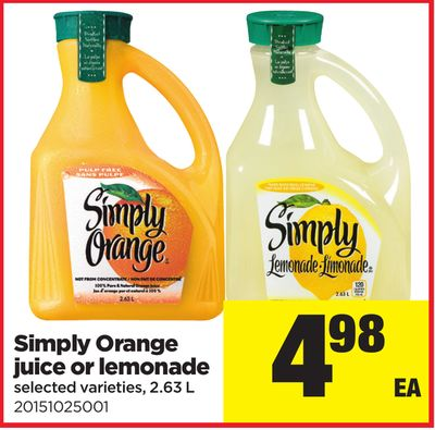 Simply Orange Juice Or Lemonade - 2.63 L