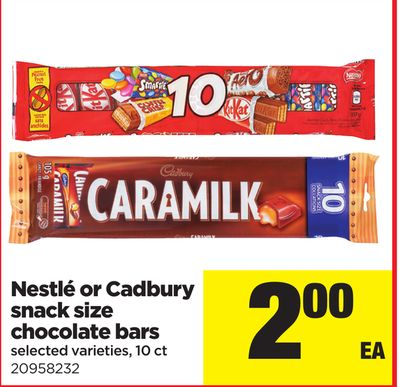 Nestlé Or Cadbury Snack Size Chocolate Bars - 10 Ct