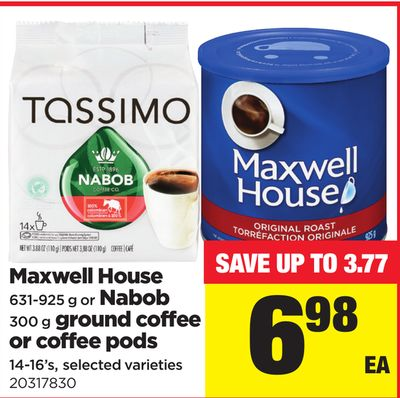 Maxwell House 631-925 G Or Nabob 300 G Ground Coffee Or Coffee PODS 14-16's
