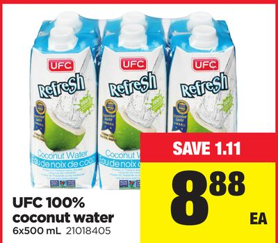 Ufc 100% Coconut Water.6x500 mL