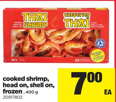 Cooked Shrimp - Head On - Shell On - Frozen - 400 G