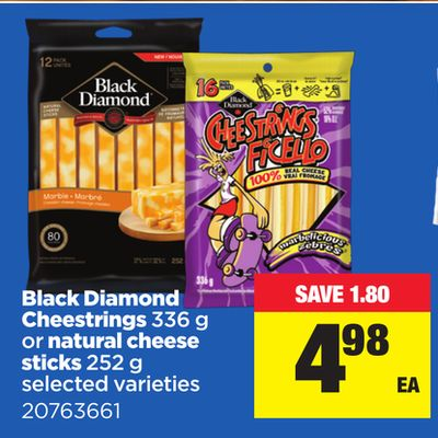 Black Diamond Cheestrings 336 G Or Natural Cheese Sticks - 252 g