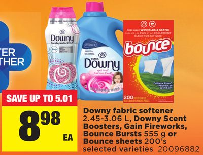 Downy Fabric Softener 2.45-3.06 L - Downy Scent Boosters - Gain Fireworks - Bounce Bursts 555 G Or Bounce Sheets 200's