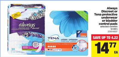 Always Discreet Or Tena Protective Underwear Or Bladder Control Pads - 12-66's