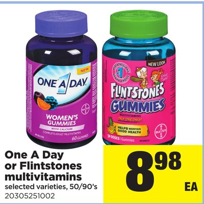 One A Day Or Flintstones Multivitamins - 50/90's