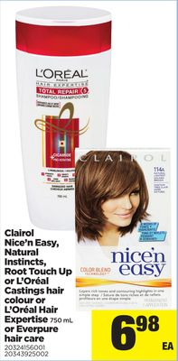 Clairol Nice'n Easy - Natural Instincts - Root Touch Up Or L'oréal Castings Hair Colour Or L'oréal Hair Expertise 750 Ml Or Everpure Hair Care