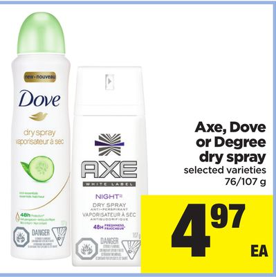 Axe - Dove Or Degree Dry Spray - 76/107 g