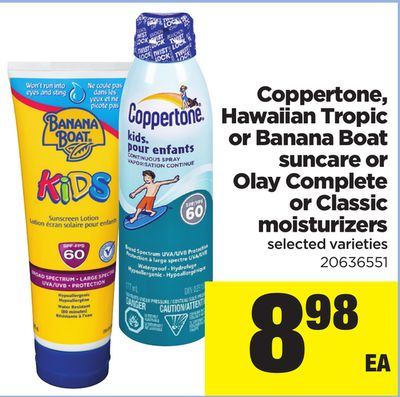 Coppertone - Hawaiian Tropic Or Banana Boat Suncare Or Olay Complete Or Classic Moisturizers
