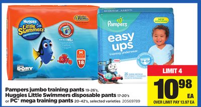 Pampers Jumbo Training Pants 19-26's - Huggies Little Swimmers Disposable Pants 17-20's Or PC Mega Training Pants 20-42's