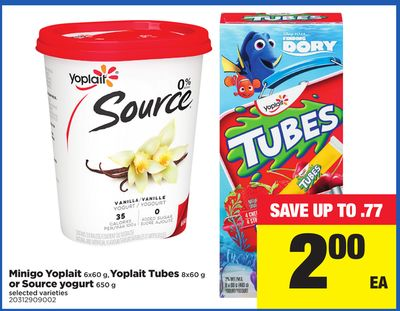 Minigo Yoplait 6x60 g - Yoplait Tubes 8x60 g or Source Yogurt 650 g