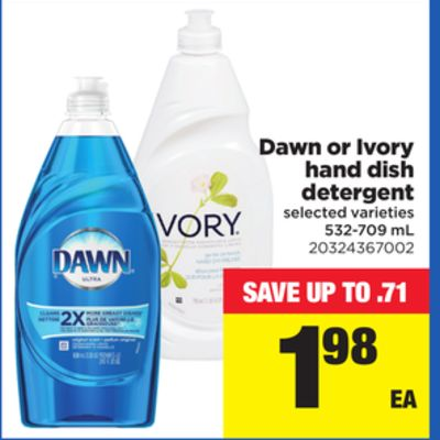 Dawn Or Ivory Hand Dish Detergent - 532-709 mL