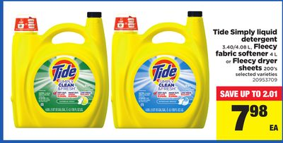 Tide Simply Liquid Detergent 3.40/4.08 L - Fleecy Fabric Softener 4 L Or Fleecy Dryer Sheets 200's