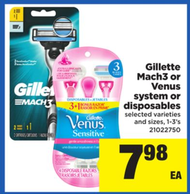 Gillette Mach3 Or Venus System Or Disposables