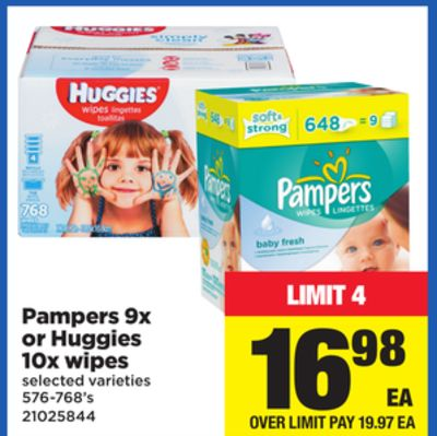 Pampers 9x Or Huggies 10x Wipes - 576-768's