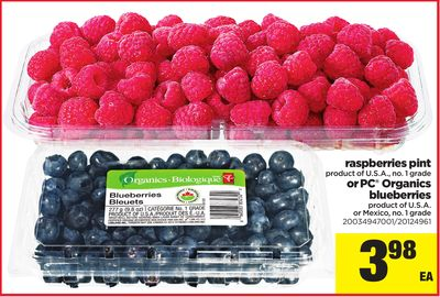 Raspberries Pint - Or PC Organics Blueberries
