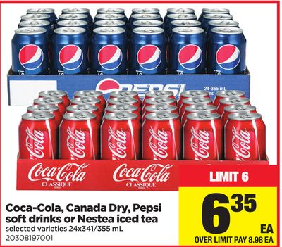 Coca-cola - Canada Dry - Pepsi Soft Drinks Or Nestea Iced Tea - 24x341/355 Ml