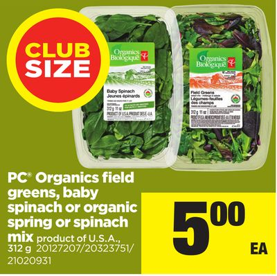 PC Organics Field Greens - Baby Spinach Or Organic Spring Or Spinach Mix - 312 g