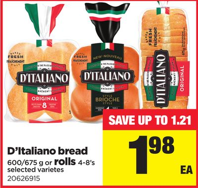 D'italiano Bread - 600/675 g or Rolls - 4-8's