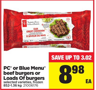 PC Or Blue Menu Beef Burgers Or Loads Of Burgers - 852-1.36 Kg