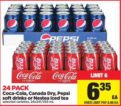 Coca-cola - Canada Dry - Pepsi Soft Drinks Or Nestea Iced Tea - 24 Pack - 24x341/355 mL