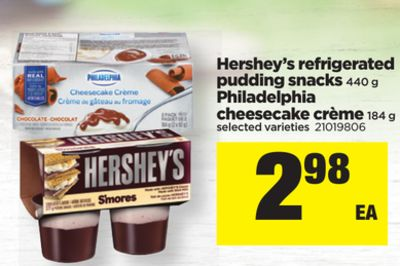 Hershey's Refrigerated Pudding Snacks - 440 G Philadelphia Cheesecake Crème - 184 G