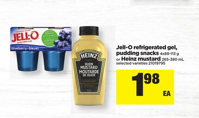 Jell-o Refrigerated Gel - Pudding Snacks - 4x89-113 G Or Heinz Mustard - 265-380 Ml