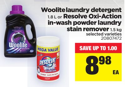 Woolite Laundry Detergent - 1.8 L Or Resolve Oxi-action In-wash Powder Laundry Stain Remover - 1.5 Kg