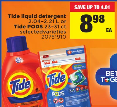 Tide Liquid Detergent - 2.04–2.21 L or Tide PODS - 23–31 Ct