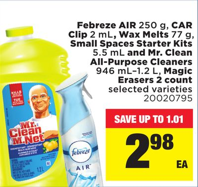 Febreze Air - 250 G - Car Clip 2 Ml - Wax Melts - 77 G - Small Spaces Starter Kits - 5.5 Ml And Mr. Clean All-purpose Cleaners - 946 Ml–1.2 L - Magic Erasers - 2 Count