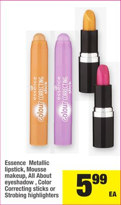 Essence Metallic Lipstick - Mousse Makeup - All About Eyeshadow - Color Correcting Sticks Or Strobing Highlighters