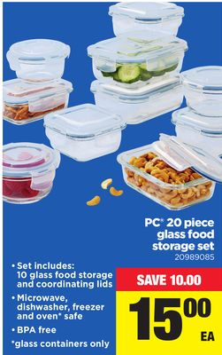 PC 20 Piece Glass Food Storage Set