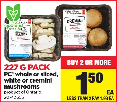 PC Whole Or Sliced - White Or Cremini Mushrooms