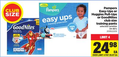 Pampers Easy-ups Or Huggies Pull-ups Or Goodnites Club Size Training Pants - 34-80's