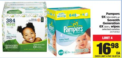 Pampers - 9x 504-648's Or Seventh Generation - 6x 384's - Wipes