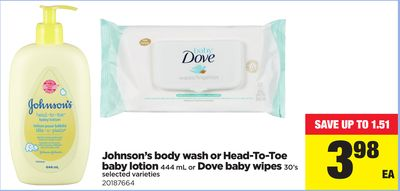 Johnson's Body Wash Or Head-to-toe Baby Lotion - 444 Ml Or Dove Baby Wipes - 30's