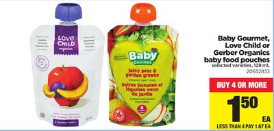 Baby Gourmet - Love Child Or Gerber Organics Baby Food Pouches - 128 mL