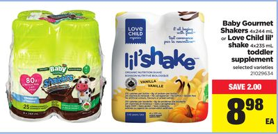 Baby Gourmet Shakers - 4x244 Ml Or Love Child Lil' Shake - 4x235 Ml Toddler Supplement
