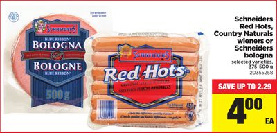 Schneiders Red Hots - Country Naturals Wieners Or Schneiders Bologna - 375-500 g