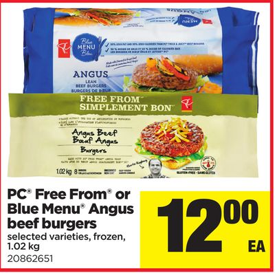 PC Free From Or Blue Menu Angus Beef Burgers - 1.02 Kg