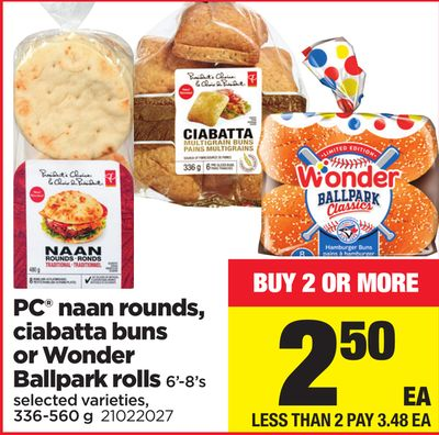 PC Naan Rounds - Ciabatta Buns Or Wonder Ballpark Rolls - 6'-8's - 336-560 g