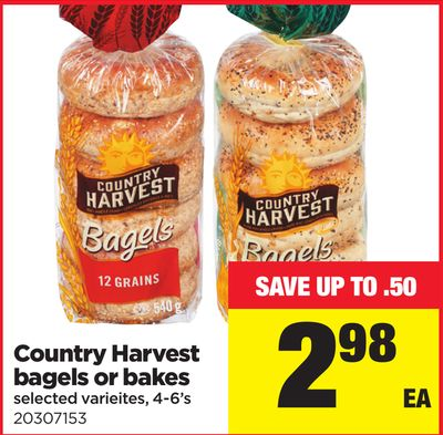 Country Harvest Bagels Or Bakes - 4-6's