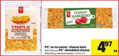 PC Or No Name Cheese Bars - 300-450 G Or PC Shredded Cheese - 300/340 G