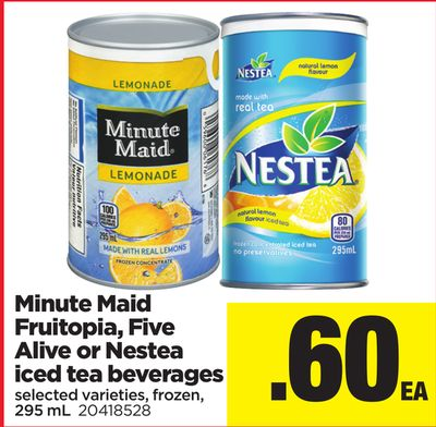 Minute Maid Fruitopia - Five Alive Or Nestea Iced Tea Beverages - 295 mL