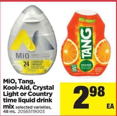 Mio - Tang - Kool-aid - Crystal Light Or Country Time Liquid Drink Mix - 48 mL