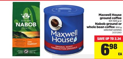 Maxwell House Ground Coffee - 631-925 g or Nabob Ground or Whole Bean Coffee - 300 g