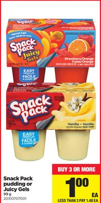 Snack Pack Pudding Or Juicy Gels - 99 G
