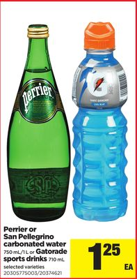 Perrier Or San Pellegrino Carbonated Water - 750 Ml/1 L or Gatorade Sports Drinks - 710 mL