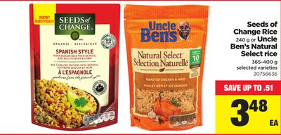 Seeds Of Change Rice - 240 g or Uncle Ben's Natural Select Rice - 365-400 g